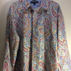 Tommy Hilfiger Blue Paisley Long Sleeve Button XL